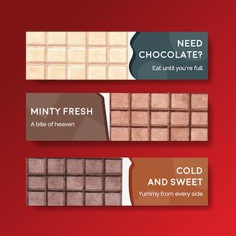 Modèle de bannière avec hiver chocolat