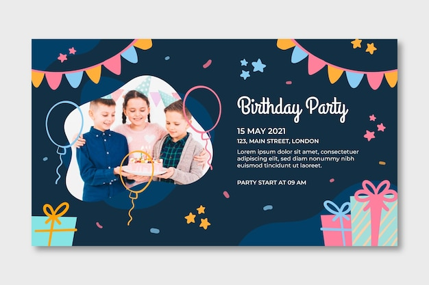 Modèle de bannière horizontale d'anniversaire