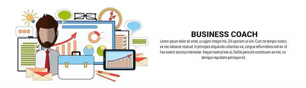 Modèle de bannière horizontale de business coach corporate education and training concept