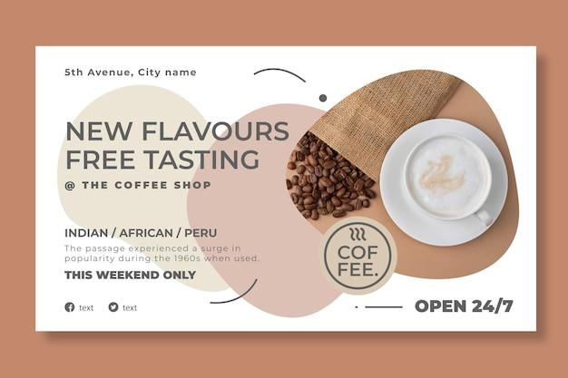 Modèle de bannière horizontale de café