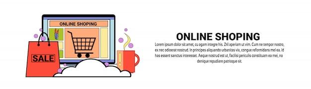 Modèle de bannière horizontale de concept de commerce électronique de magasinage en ligne