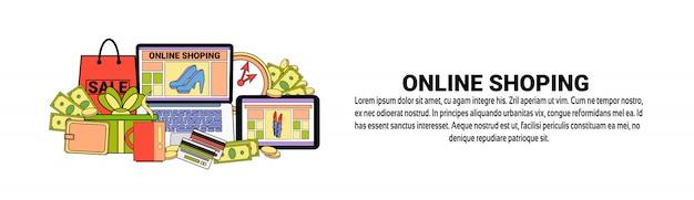 Modèle de bannière horizontale de concept de commerce électronique
