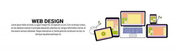 Modèle de bannière horizontale de concept de développement de conception web