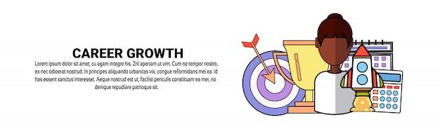 Modèle de bannière horizontale de concept de développement personnel de croissance de carrière