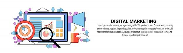 Modèle de bannière horizontale de concept de marketing numérique
