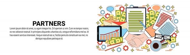 Modèle de bannière horizontale de concept de partenariat commercial partenaires
