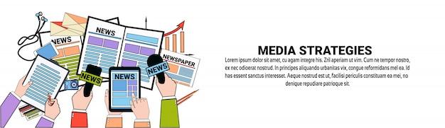 Modèle de bannière horizontale de concept de stratégies marketing pour les médias