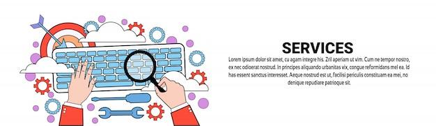 Modèle de bannière horizontale de concept de support technique de services