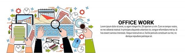 Modèle de bannière horizontale de concept de travail de bureau