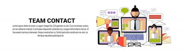 Modèle de bannière horizontale concept de travail d'équipe team contact cooperation
