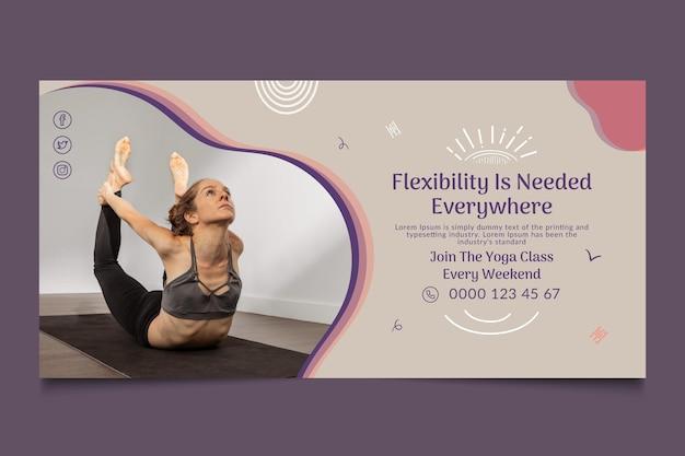 Modèle de bannière horizontale de cours de yoga