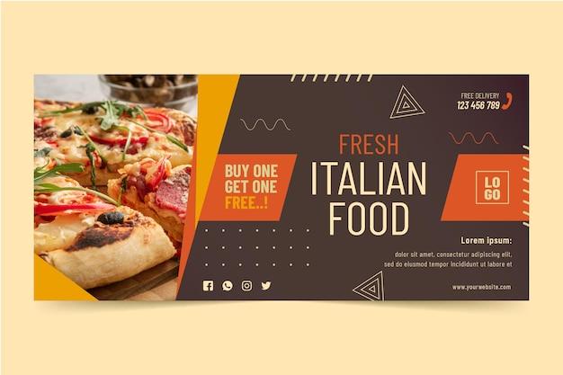 Modèle de bannière horizontale de cuisine italienne