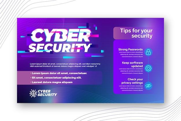 Modèle de bannière horizontale de cybersécurité