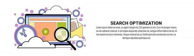 Modèle de bannière horizontale du concept d'optimisation de la recherche