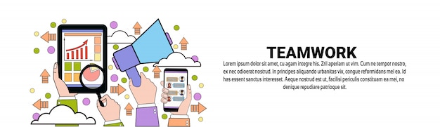 Modèle de bannière horizontale d'équipe business teamwork concept