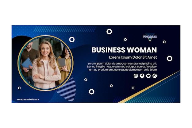 Modèle de bannière horizontale de femme d & # 39; affaires