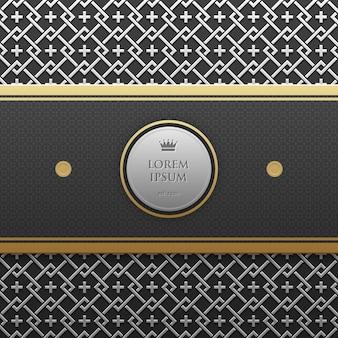 Modèle de bannière horizontale sur fond métallique argent / platine avec motif géométrique sans soudure