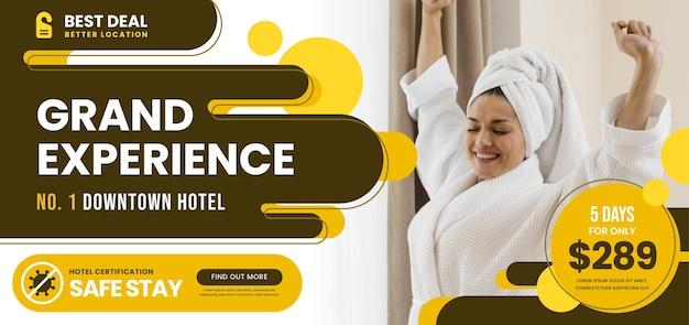 Modèle de bannière horizontale d'hôtel avec photo