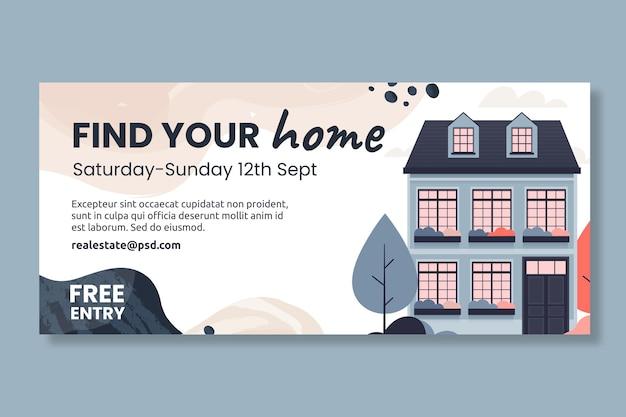 Modèle de bannière horizontale de l'immobilier