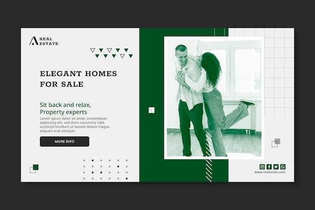 Modèle de bannière horizontale immobilière