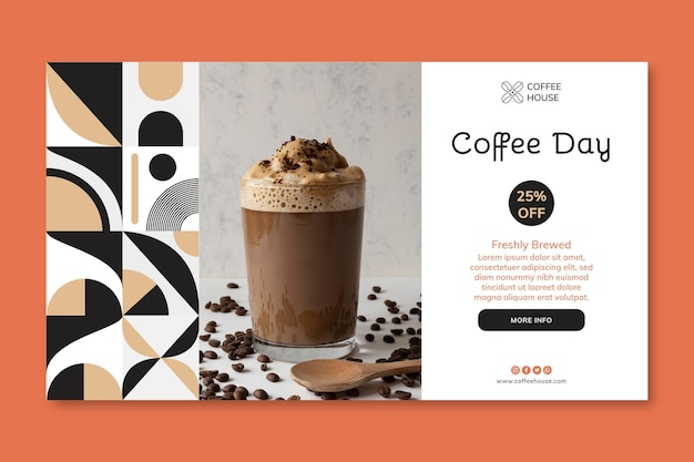 Modèle de bannière horizontale de jour café