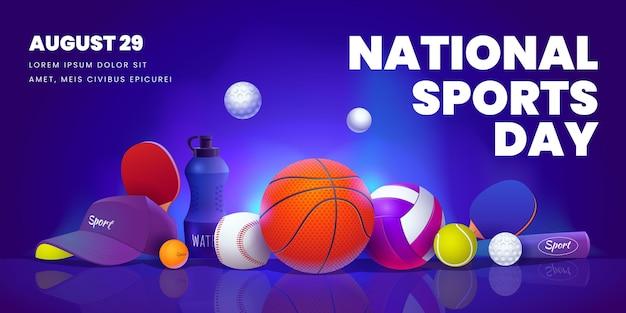 Modèle de bannière horizontale de la journée nationale du sport plat