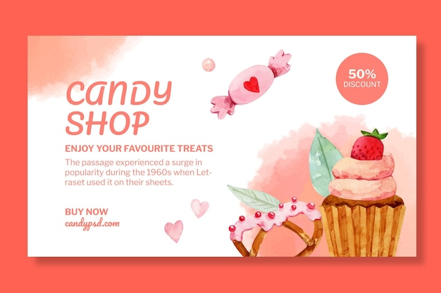 Modèle de bannière horizontale de magasin de bonbons