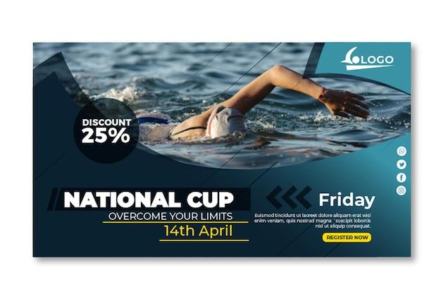 Modèle de bannière horizontale de natation