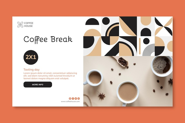 Modèle de bannière horizontale de pause-café