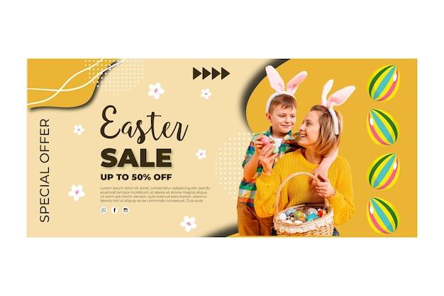 Modèle de bannière horizontale pour pâques avec mère et enfant