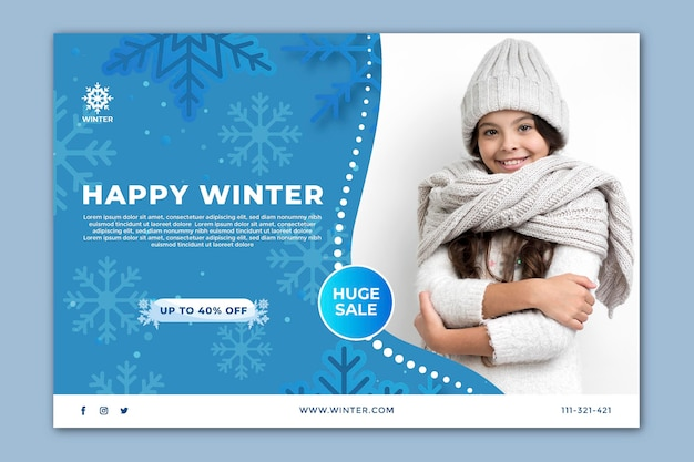 Modèle de bannière horizontale pour les soldes d'hiver