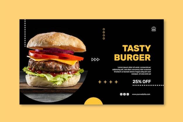 Modèle de bannière horizontale de restaurant de hamburgers