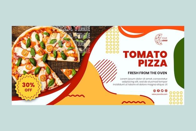 Modèle de bannière horizontale de restaurant de pizza