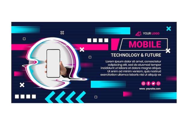 Modèle de bannière horizontale de technologie mobile
