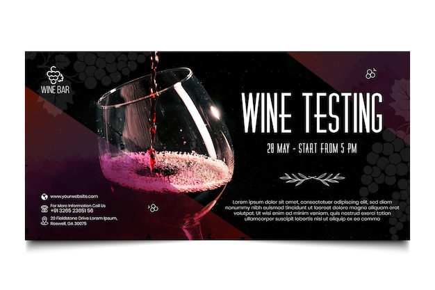 Modèle De Bannière Horizontale De Test De Vin Vecteur gratuit