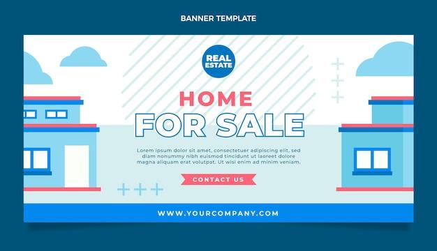 Modèle de bannière horizontale de vente immobilière géométrique abstrait plat