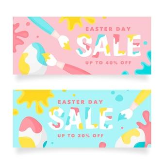Modèle de bannière horizontale de vente de pâques dessiné à la main