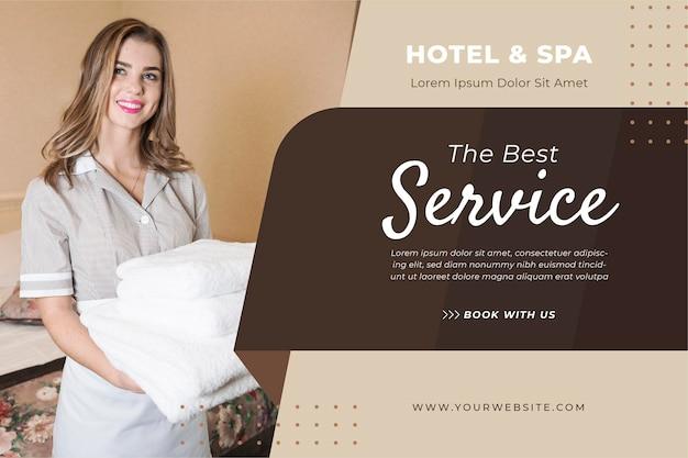 Modèle de bannière d'hôtel créatif avec photo