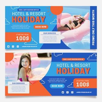 Modèle de bannière d'hôtel design plat avec photo