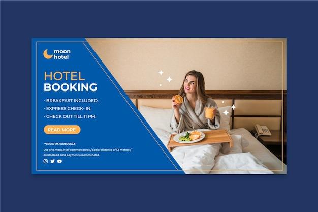 Modèle de bannière d'hôtel design plat