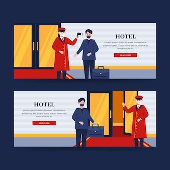 Modèle de bannière d'hôtel plat illustré