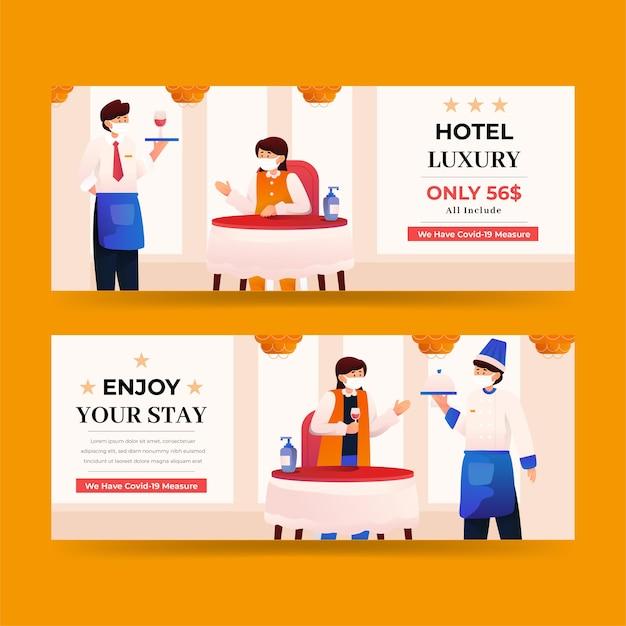 Modèle de bannière d'hôtel plat organique illustré