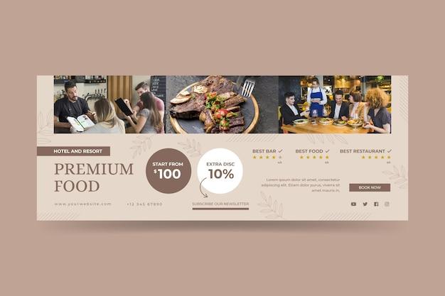 Modèle de bannière d'hôtel plat organique avec photo