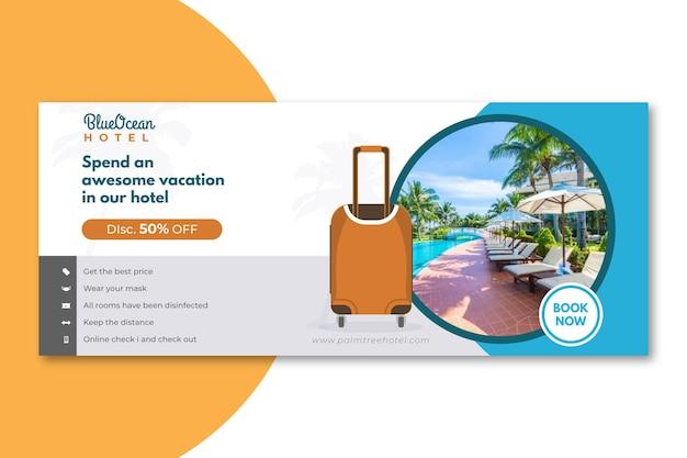 Modèle de bannière d'hôtel plat avec photo