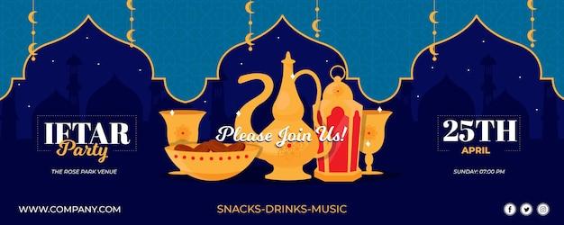 Modèle de bannière iftar dessiné à la main