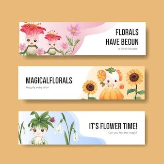 Modèle de bannière avec illustration aquarelle de caractère floral concept