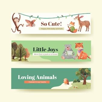 Modèle de bannière avec illustration aquarelle de concept animaux heureux