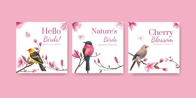 Modèle de bannière avec illustration aquarelle de fleur oiseau concept design
