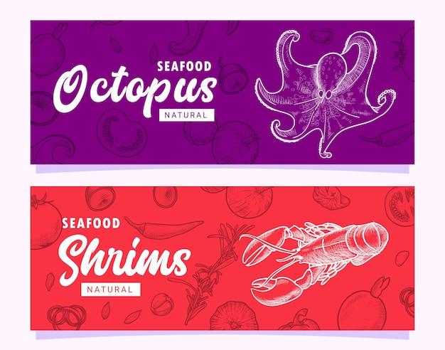 Modèle de bannière d'illustration de homard et poulpe de fruits de mer dessinés à la main