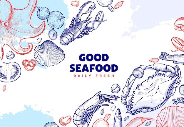 Modèle de bannière d'illustration de restaurant de fruits de mer dessinés à la main